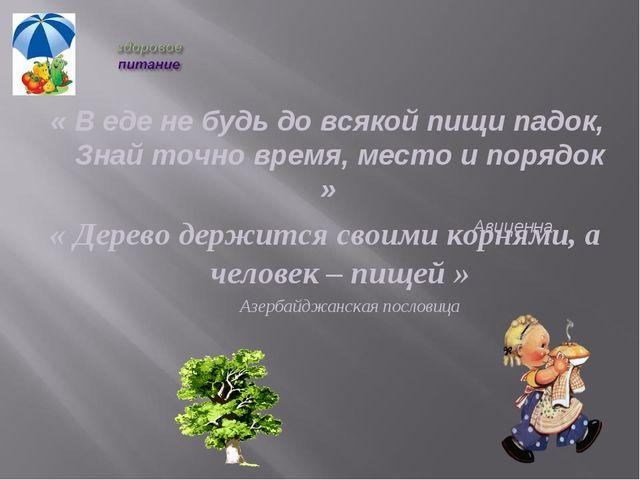 « Дерево держится своими корнями, а человек – пищей » Азербайджанская послови...