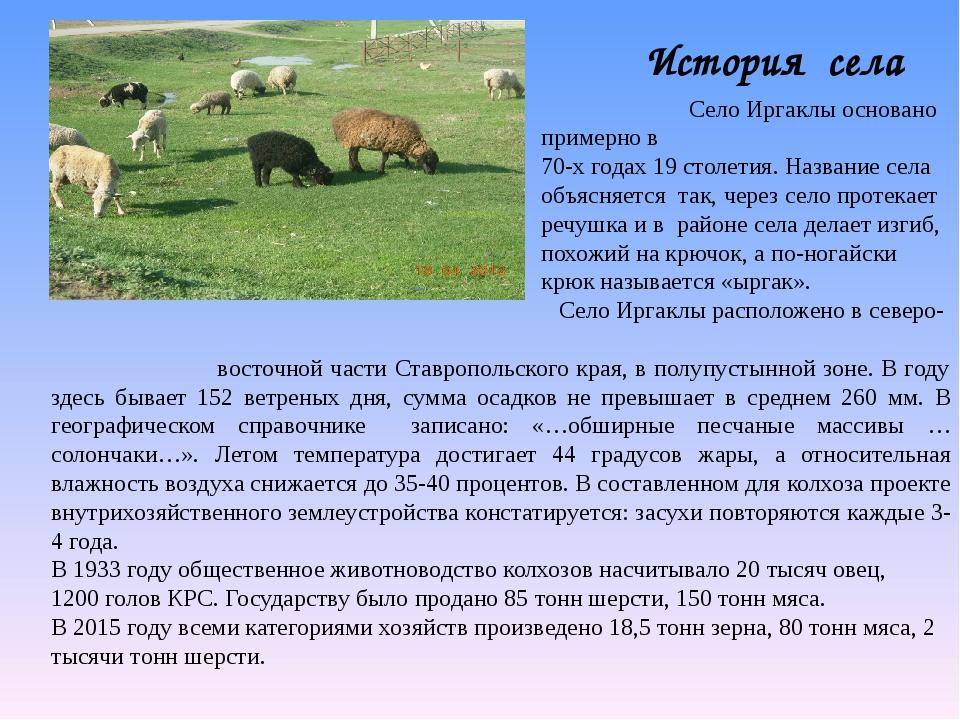 История села Село Иргаклы основано примерно в 70-х годах 19 столетия. Названи...