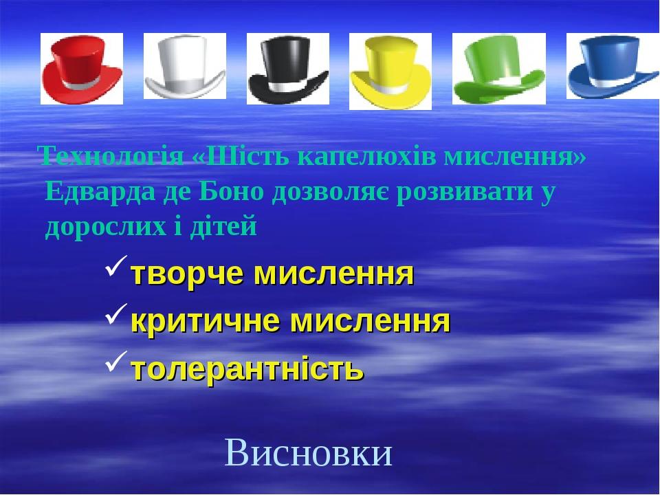 Висновки Технологія «Шість капелюхів мислення» Едварда де Боно дозволяє розв...