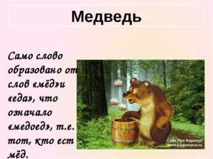 Само слово образовано от слов «мёд»и «еда», что означало «медоед», т.е. тот,