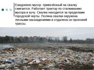 Ежедневно мусор привезённый на свалку сжигается. Работает трактор по сталкива