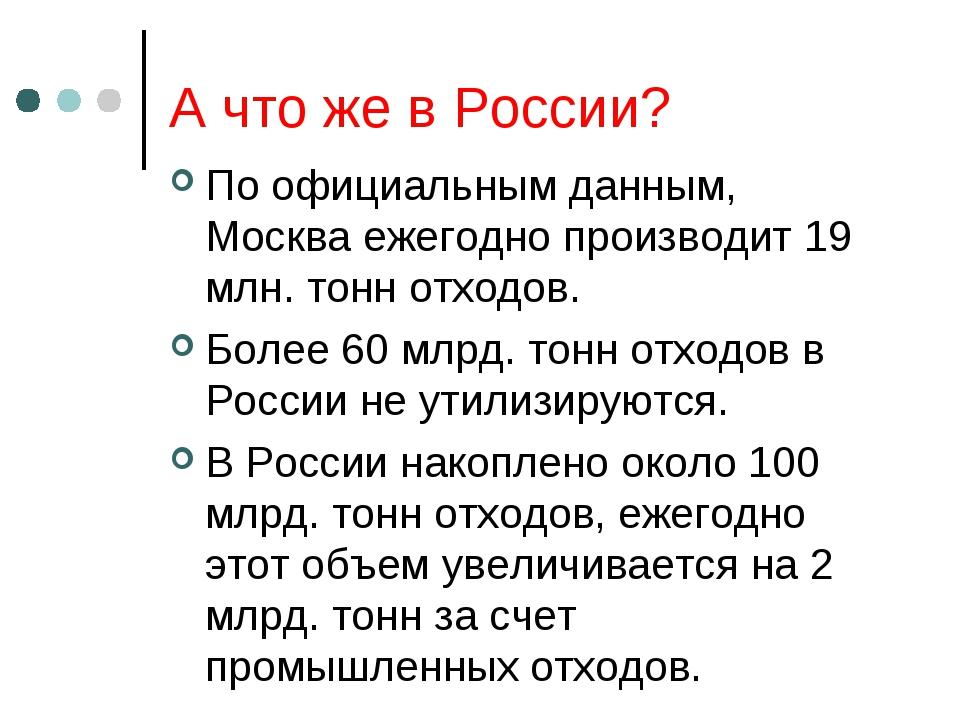 А что же в России? По официальным данным, Москва ежегодно производит 19 млн....
