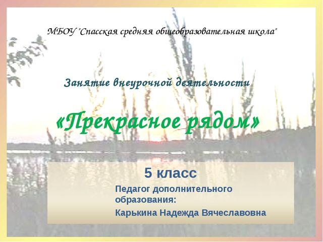 """Занятие внеурочной деятельности «Прекрасное рядом» МБОУ """"Спасская средняя общ..."""
