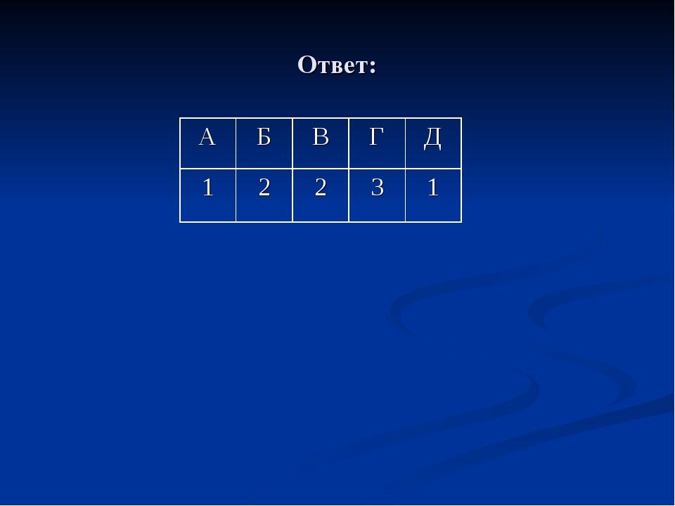 Ответ: АБВГД 12231
