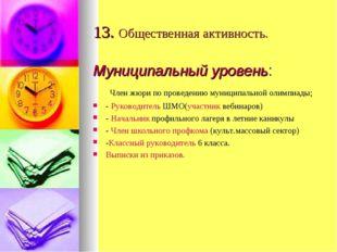13. Общественная активность. Муниципальный уровень: Член жюри по проведению м