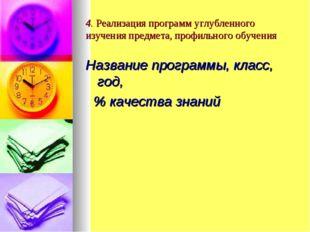 4. Реализация программ углубленного изучения предмета, профильного обучения Н