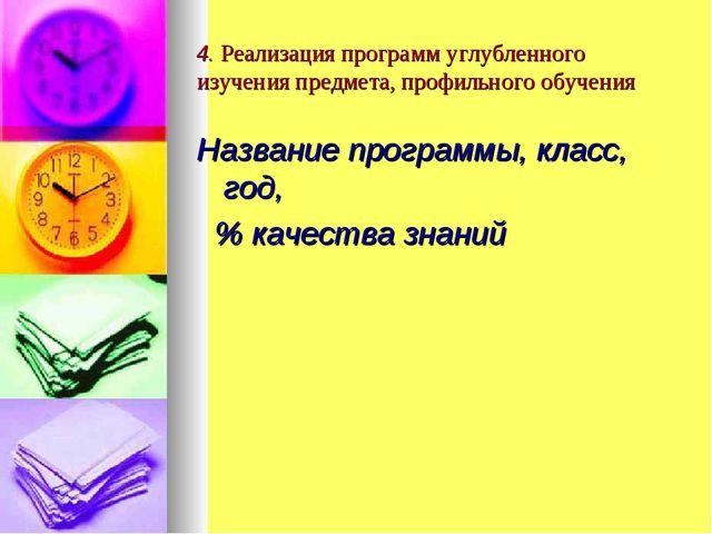 4. Реализация программ углубленного изучения предмета, профильного обучения Н...