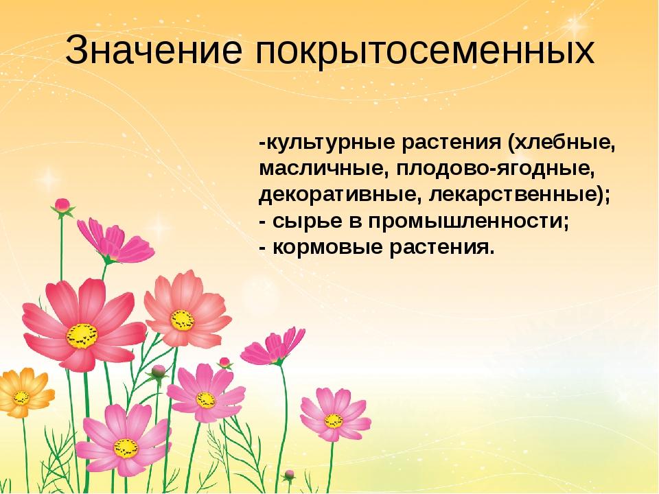 Значение покрытосеменных -культурные растения (хлебные, масличные, плодово-яг...