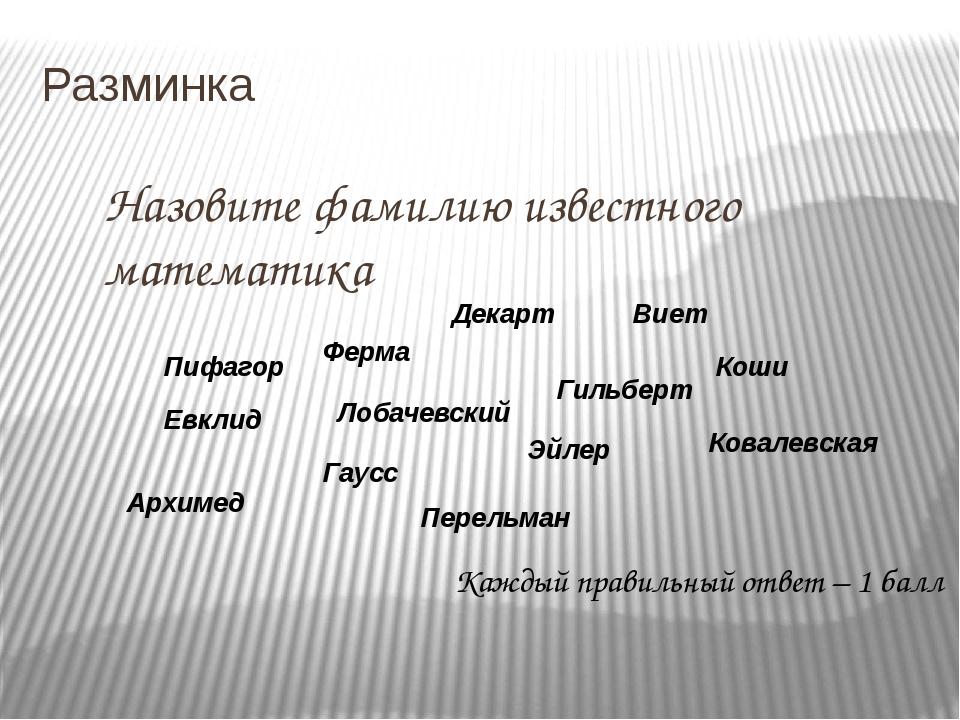 Разминка Назовите фамилию известного математика Каждый правильный ответ – 1...