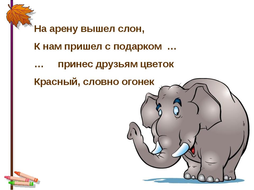 * На арену вышел слон, К нам пришел с подарком … … принес друзьям цветок Крас...