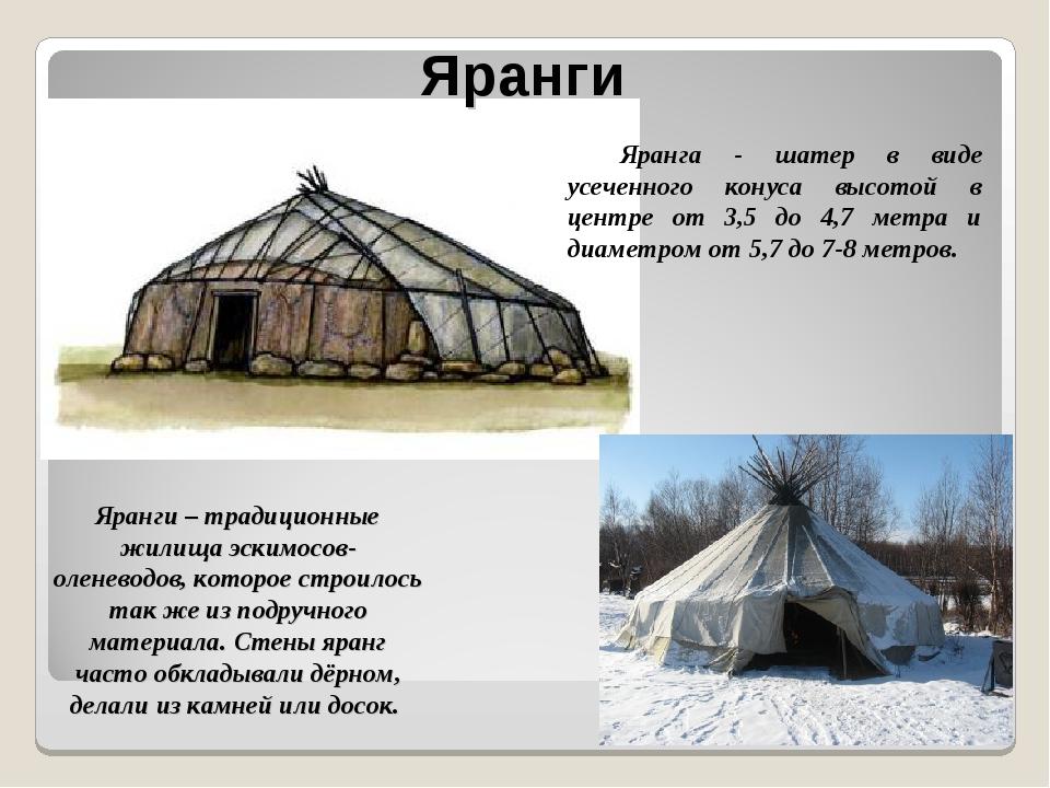 Яранги – традиционные жилища эскимосов- оленеводов, которое строилось так же...
