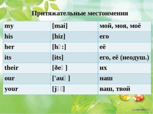 Притяжательные местоимения my [mai] мой, моя, моё his [hiz] его her [hɜ:] её