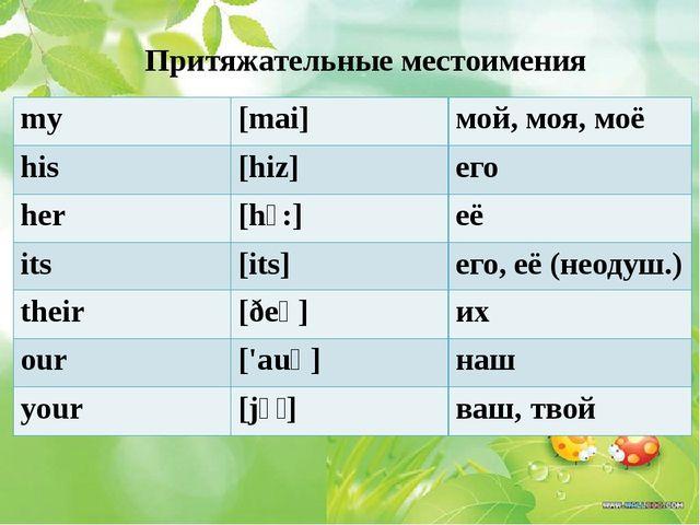 Притяжательные местоимения my [mai] мой, моя, моё his [hiz] его her [hɜ:] её...