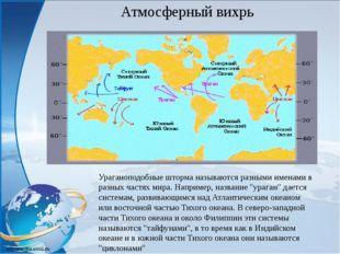 Ураганоподобные шторма называются разными именами в разных частях мира. Напри