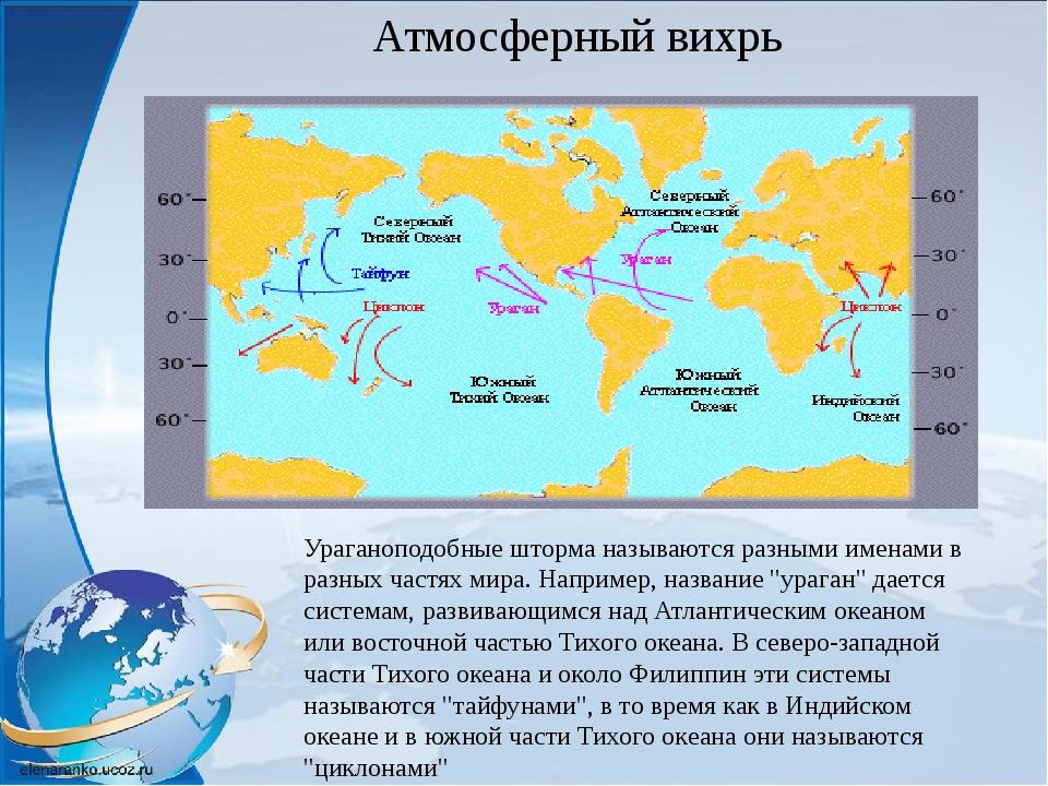 Ураганоподобные шторма называются разными именами в разных частях мира. Напри...