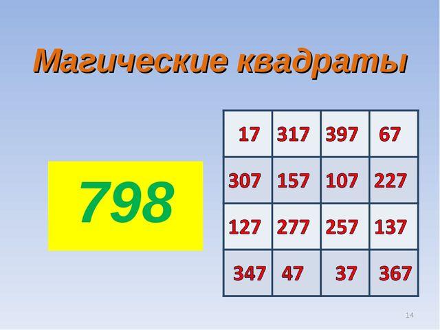 Магические квадраты 798 *
