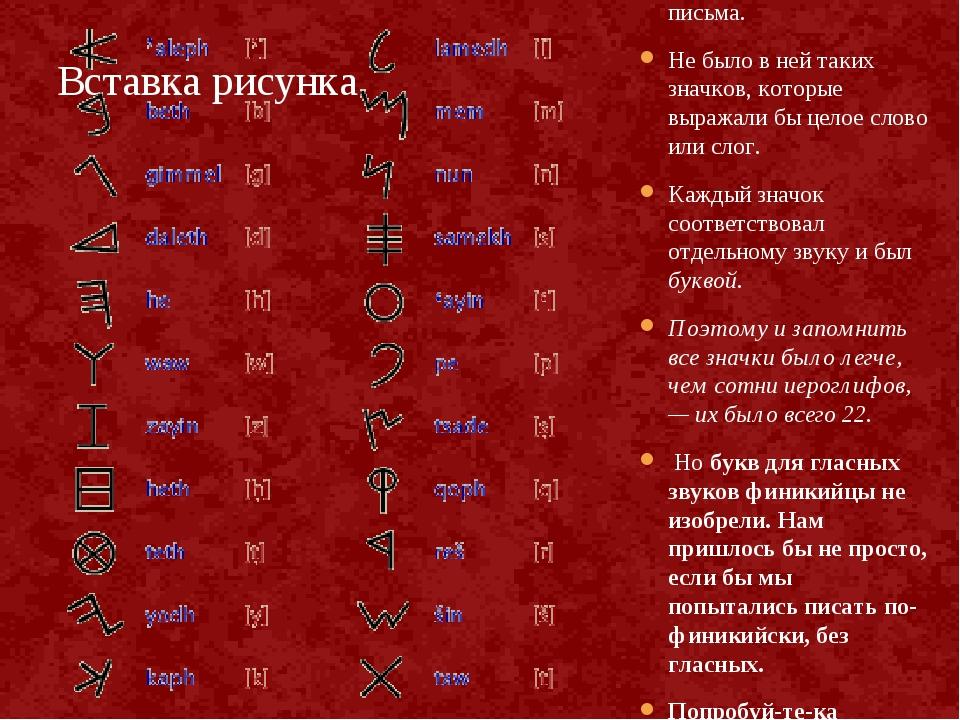 В Финикии придумали очень простую систему письма. Не было в ней таких значков...