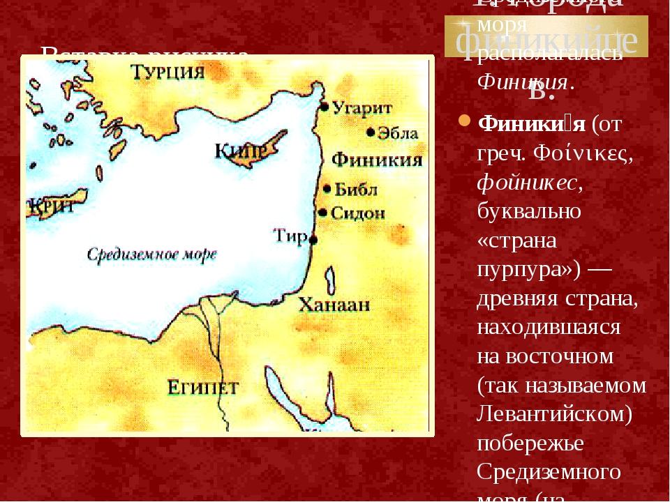 1. Города финикийцев. На восточном побережье Средиземного моря располагалась...
