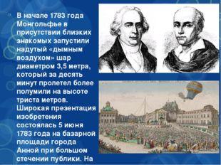 В начале 1783 года Монгольфье в присутствии близких знакомых запустили надут