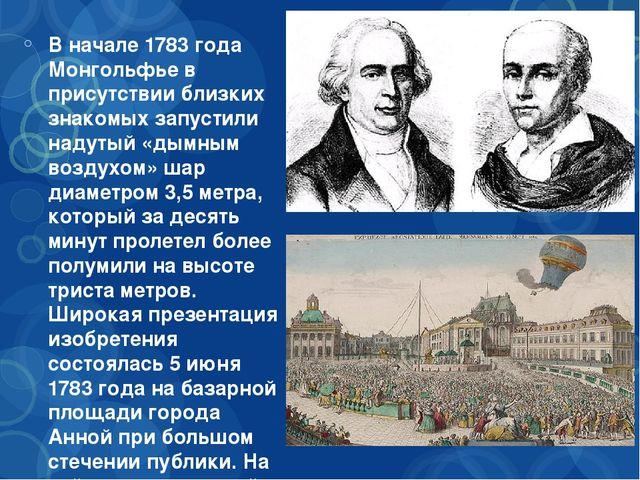 В начале 1783 года Монгольфье в присутствии близких знакомых запустили надут...