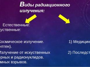 Виды радиационного излучения: Естественные: Искуственные: 1) Космическое излу