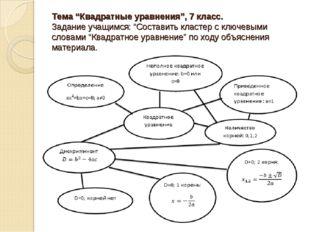 """Тема """"Квадратные уравнения"""", 7 класс. Задание учащимся: """"Составить кластер с"""