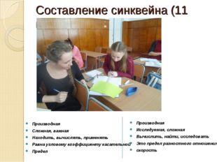 Составление синквейна (11 класс) Производная Сложная, важная Находить, вычисл