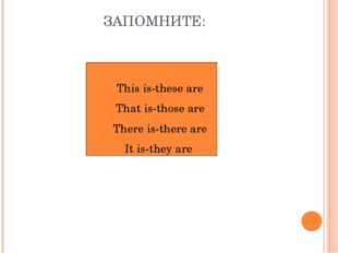 ЗАПОМНИТЕ: This is-these are That is-those are There is-there are It is-they