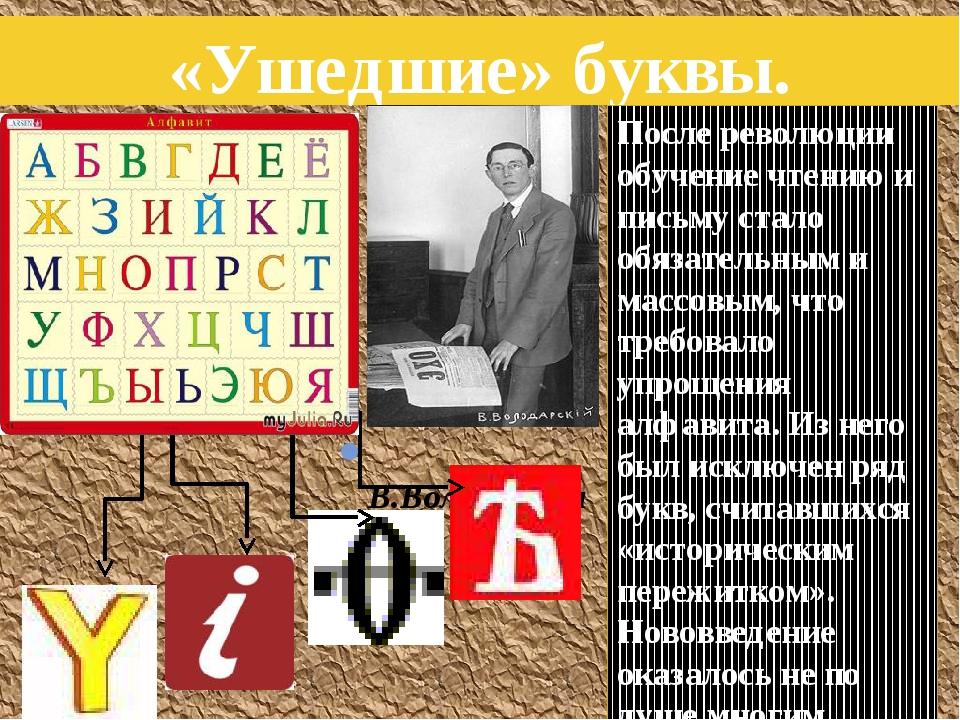«Ушедшие» буквы. В.Володарский После революции обучение чтению и письму стало...