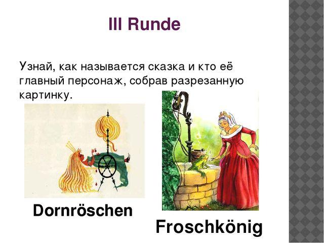 III Runde Узнай, как называется сказка и кто её главный персонаж, собрав разр...