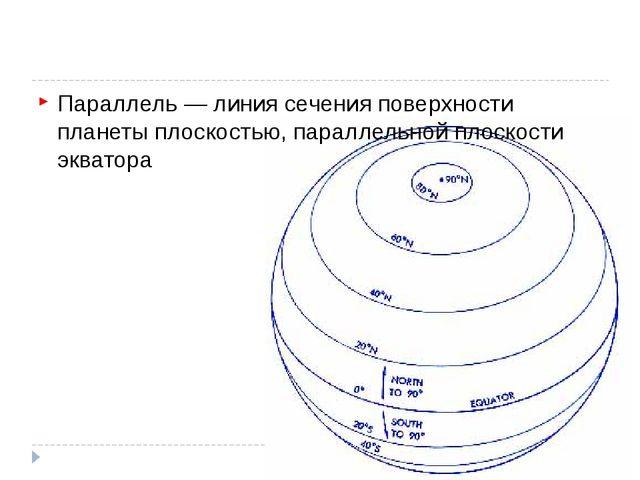 Параллель — линия сечения поверхности планеты плоскостью, параллельной плоск...
