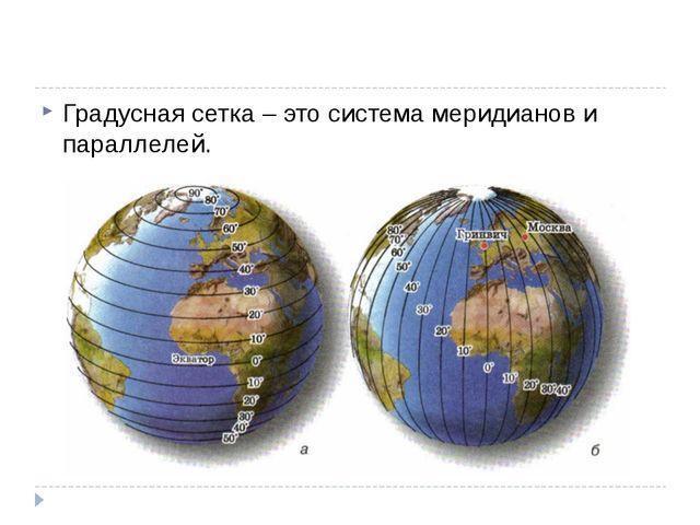 Градусная сетка – это система меридианов и параллелей.