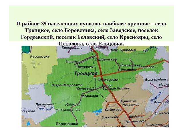 В районе 39 населенных пунктов, наиболее крупные – село Троицкое, село Боров...