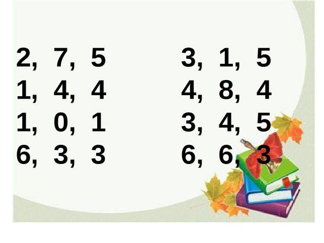 2, 7, 5 3, 1, 5 1, 4, 4 4, 8, 4 1, 0, 1 3, 4, 5 6, 3, 3 6, 6, 3