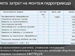 Смета затрат на монтаж гидропривода Исходя из выполненного расчета, учитывая