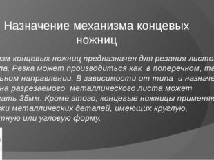 Назначение механизма концевых ножниц Механизм концевых ножниц предназначен дл
