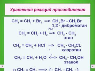 Уравнения реакций присоединения СН2 = СН2 + Вr2 ═> СН2 Вr - СН2 Вr 1,2 - дибр