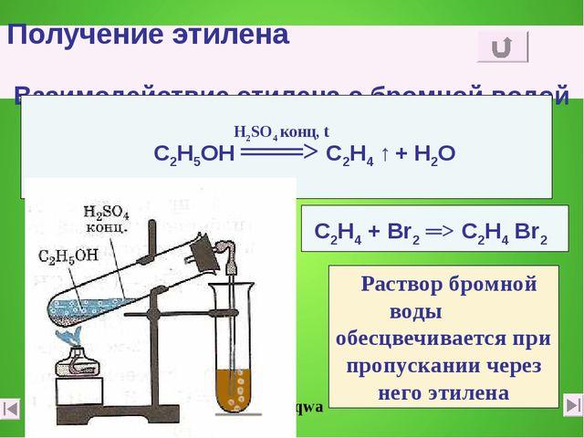Получение этилена Взаимодействие этилена с бромной водой С2Н4 + Вr2 ═> С2Н4 В...