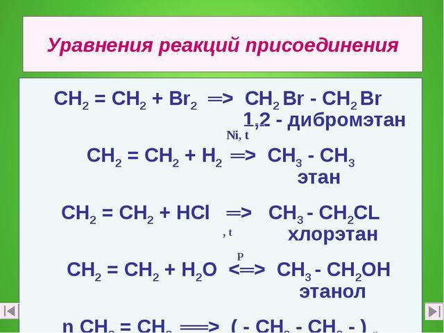 Уравнения реакций присоединения СН2 = СН2 + Вr2 ═> СН2 Вr - СН2 Вr 1,2 - дибр...