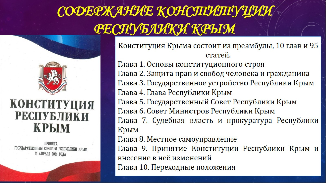 Содержание конституции Республики Крым