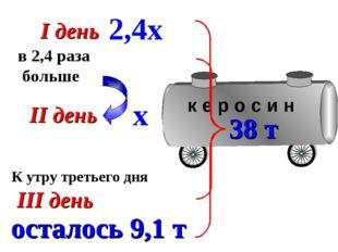К утру третьего дня I день II день III день в 2,4 раза больше х 2,4х 38 т ост