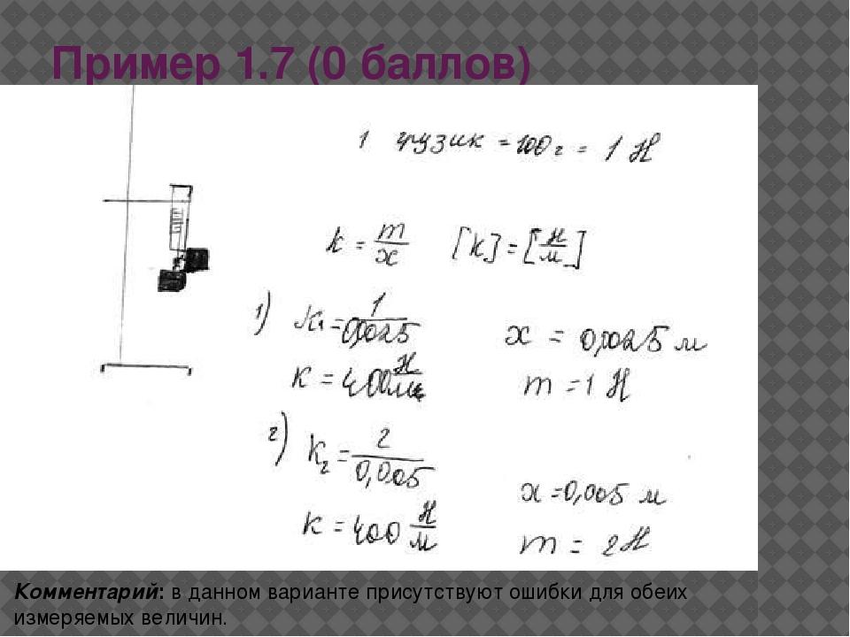 Пример 1.7 (0 баллов) Комментарий: в данном варианте присутствуют ошибки для...
