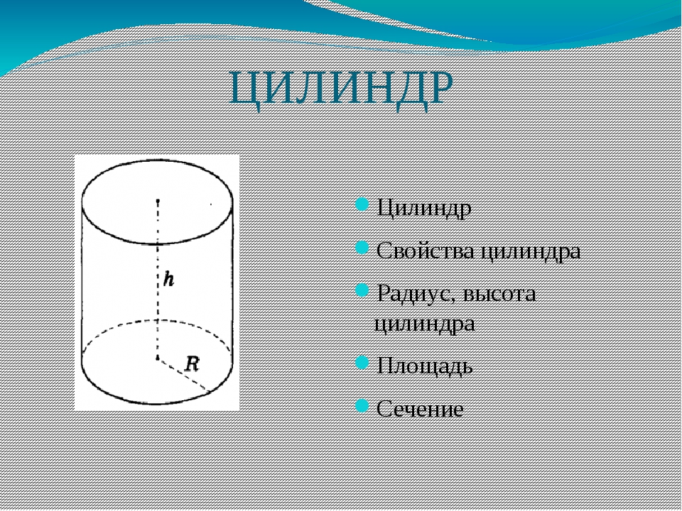 ЦИЛИНДР Цилиндр Свойства цилиндра Радиус, высота цилиндра Площадь Сечение