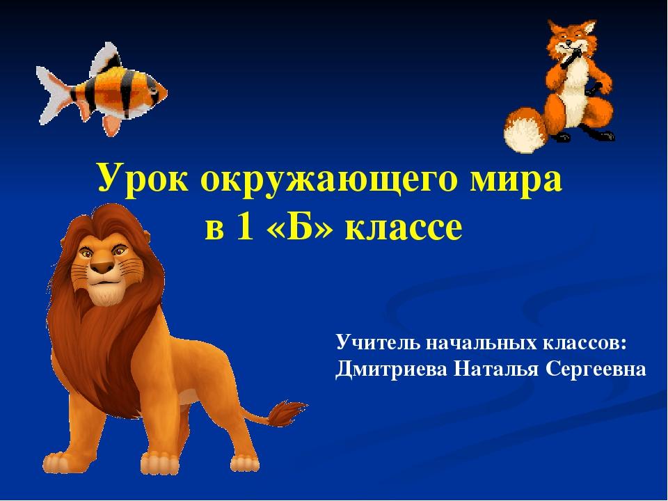 Урок окружающего мира в 1 «Б» классе Учитель начальных классов: Дмитриева Нат...