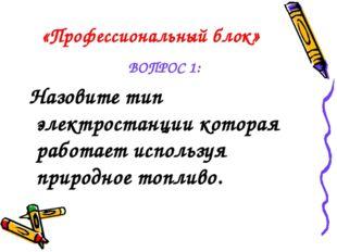 «Профессиональный блок» ВОПРОС 1: Назовите тип электростанции которая работае