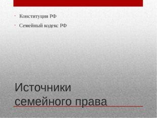 Источники семейного права Конституция РФ Семейный кодекс РФ