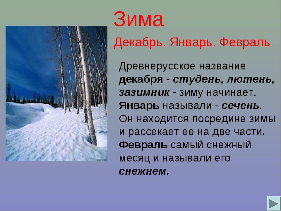 Зима Древнерусское название декабря - студень, лютень, зазимник - зиму начина...