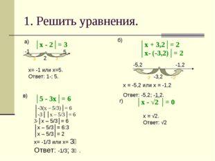 1. Решить уравнения. │х - 2│= 3 2 3 5 -3 -1 х= -1 или х=5. Ответ: 1-; 5. а) б