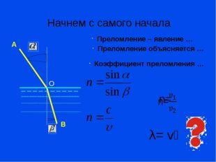 Преломление – явление … Преломление объясняется … Коэффициент преломления … Н