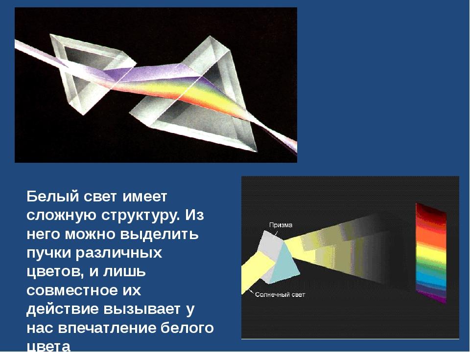 Белый свет имеет сложную структуру. Из него можно выделить пучки различных цв...